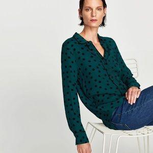 Zara Woman Polka Dot Shirt with Contrast Piping
